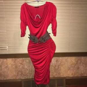 Valentine's Day Red Lycra Midi Fashion Dress M